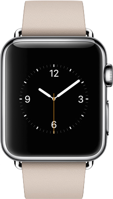 Aktwal na imahe ng laki ng  Apple Watch (38mm) .