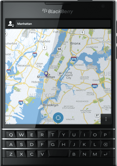 Actual size image of  BlackBerry Passport .