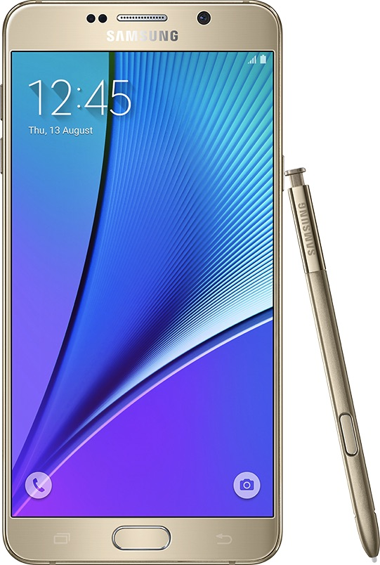 實際尺寸圖像 Samsung Galaxy Note 5 。