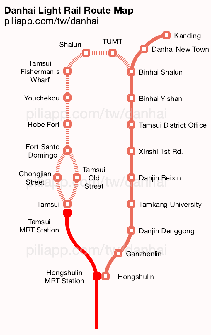 Danhai Light Rail Route Map